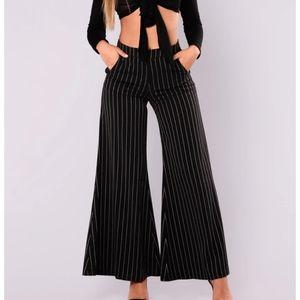 Fashion Nova Black/White High Waisted Flared Pants